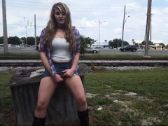 Outdoor Solo Onanism Vignette With Curly Blonde